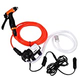 Electric Water Pump Car Washer, Delaman 12V 80W Car Power 130PSI Car Washer Cleaning Machine Water Pump Trigger Spray Gun Washing Kit, for Auto RV Marine,Pets Showering,Window Cleaning,Gardening and C
