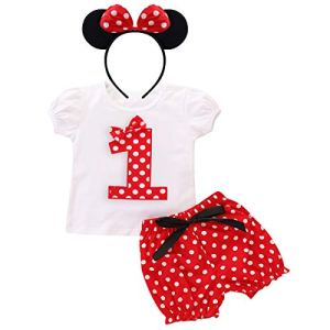 FYMNSI Toddler Kids Baby Girl Birthday Party Cake Smash Outfit Summer Short Sleeve T Shirt Top + Red Polka Dots Shorts Pants + Ear Bow Headband 3pcs Clothes Set Photo Props 1-5Y 41CxiGyprnL