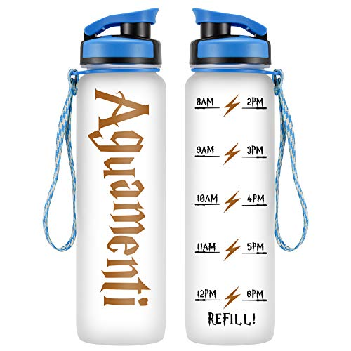 LEADO 32oz 1Liter Motivational Tracking Water Bottle with Time Marker - Aguamenti - Funny HP Fans Birthday Merchandise Gifts for Women Best Friends, Wife, Daughter, Coworker, Girls - Drink More Water