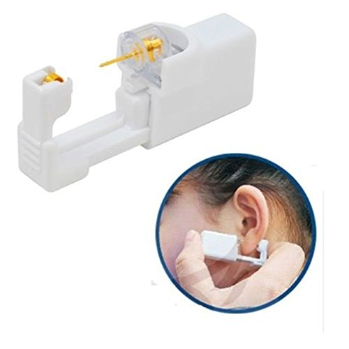 NEW Ear Piercing Device Disposable Sterile Ear Nose Piercing Kit Tool Stud Safety Portable Ear Piercing Kit (Gold White)