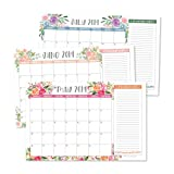 Floral 2019-2020 Large Monthly Desk or Wall Calendar Planner, Big Giant Planning Blotter Pad, 18 Month Academic Desktop, Hanging 2-Year Date Notepad Teacher, Mom Family Home Business Office 11x17'