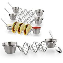 Taco-Shell-Stand-Up-Holders-4-Pack-Premium-Stainless-Steel-Taco-Holder-with-8-Salad-Cups-4-Spoons