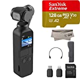 2019 DJI Osmo Pocket Handheld Axis Gimbal Stabilizer with Integrated Camera, Comes 128GB Extreme Micro SD, Attachable To Smartphone, Android, iPhone
