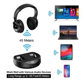 RCA-Wireless-TV-Headphones-Over-Ear-Headphones-for-TV-Watching-PC-Phone-MP3-iPod-VCD-DVD-Headphones-for-Seniors-Hard-of-Hearing-148ft45M-Range-Rechargeable-and-Adjustable