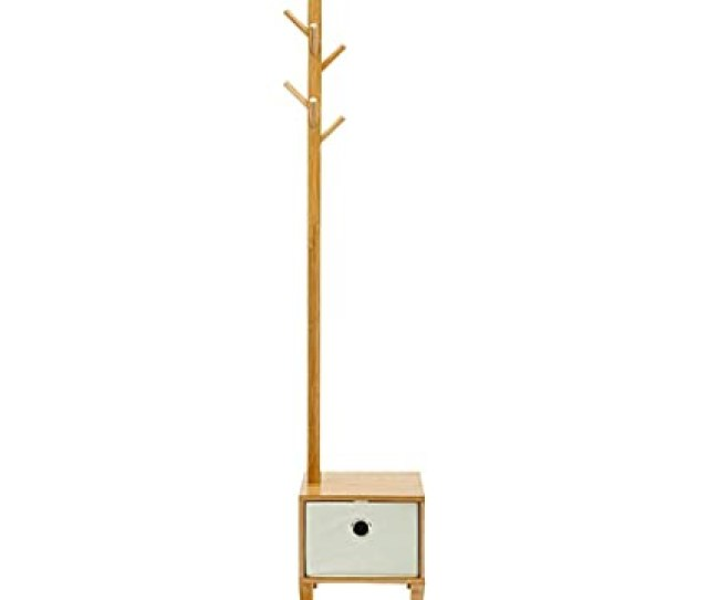 E Goal Wooden Bamboo Coat Stand 8 Hooks Free Standing Coat Hat Rack Tree Clothes