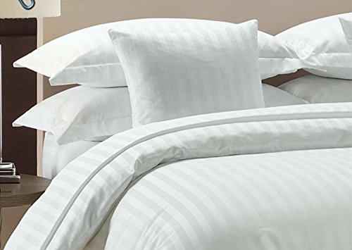 Precious Star Linen Hotel Quality Heavy 1000TC Zipper Closer 3pc Duvet Cover Set Damask White Striped Super king (98 x 108) Egyptian Cotton Expedited Shipping By