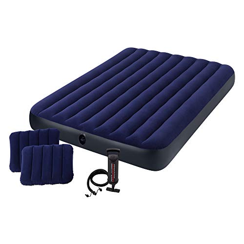 Intex Classic Downy Airbed Set with 2 Pillows and Double Quick Hand Pump, Queen