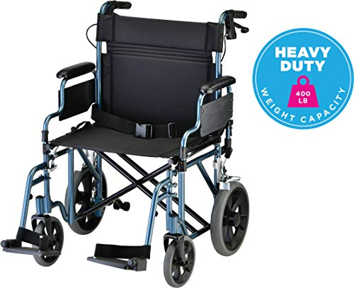 NOVA Bariatric Transport Chair with Locking Hand Brakes, Heavy Duty and Extra Wide Wheelchair with Removable & Flip Up Arms for Easy Transfer, Anti-Tippers Included, 400 lb. Weight Capacity, Blue