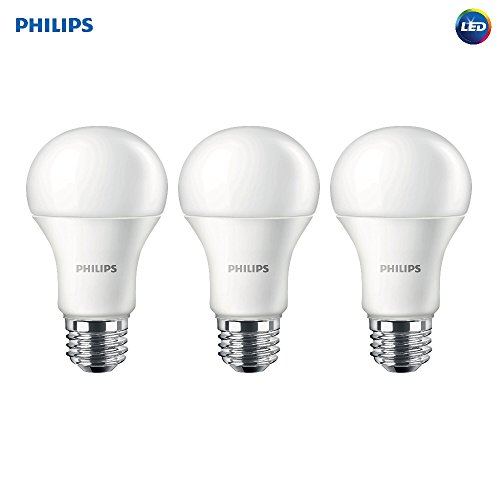 Philips LED Non-Dimmable A19 Frosted Light Bulb: 1500-Lumen, 2700-Kelvin, 14.5-Watt (100-Watt Equivalent), E26 Medium Screw Base, Soft White, 3-Pack