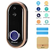Wireless Video Doorbell Camera, Mbuynow WiFi 1080P Doorbell Home Security Camera with Indoor Chime, Cloud Service, 2 Batteries, Night Vision, 2-Way Talk, Motion Detection for iOS Android Phone(Gold)