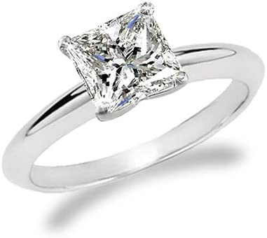 1 Carat Princess Cut Diamond Solitaire Engagement Ring 18K White Gold (G-H, VS1-VS2, 1 c.t.w) Very Good Cut