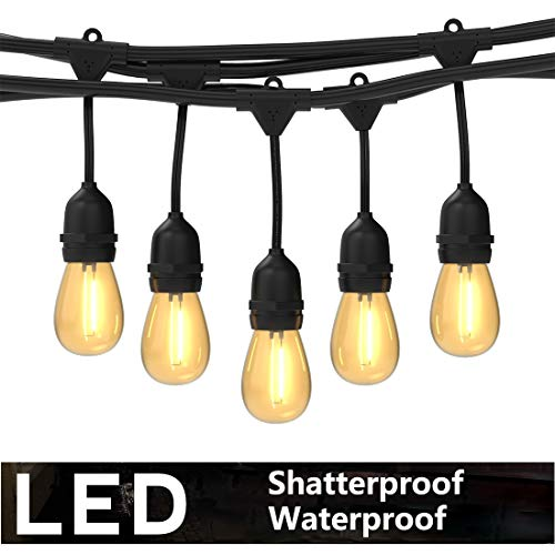 Foxlux Outdoor LED String Lights - 48FT Shatterproof & Waterproof S14 Heavy-Duty Outdoor Lights - 15 Hanging Sockets, 1W Plastic Bulbs - Create Ambience for Patio, Backyard, Garden, Bistro, Cafe