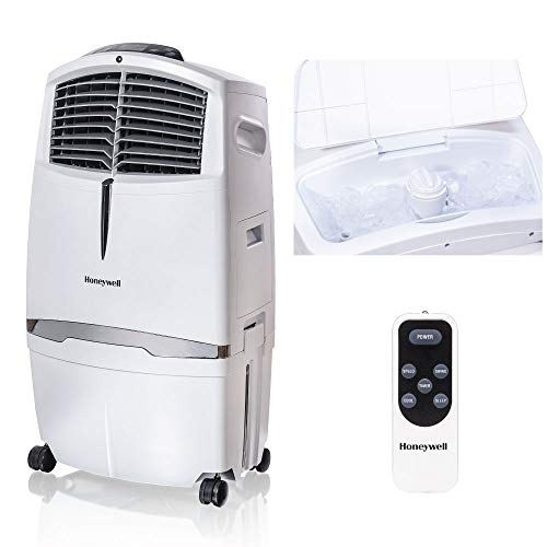 Honeywell-525-790CFM-Portable-Fan-Humidifier-with-Ice-Compartment-Remote-CL30XCWW-White-Evaporative-Cooler-525-CFM