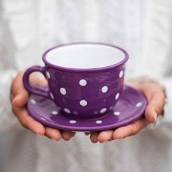 Purple Polka Dot Coffee Tea Cup
