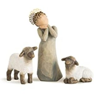 Willow Tree hand-painted sculpted figures, Little Shepherdess, 3-piece set