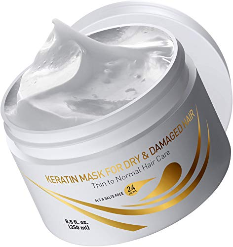 Vitamins Keratin Hair Mask Deep Conditioner - Thin Fine Hair Keratin Argan Silk Hydrating Complex to Repair Dry Damaged Hair and Scalp
