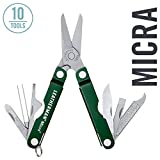 LEATHERMAN - Micra Keychain Multitool with Spring-Action Scissors and Grooming Tools, Stainless Steel, Green