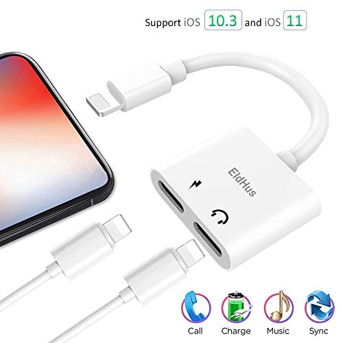 Onlier Compatible Adapter & Splitter for IP X / 7 / 7 plus / 8 / 8 plus,Applicable Dual Headphone Audio &  Charge Adapter,2 in 1 Charger Audio Aux Cable Jack Call + Sync + Charging + Music for iPh X/8/8Plus/7/7Plus