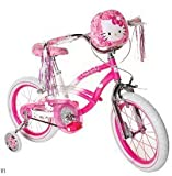Hello Kitty Girls' Bike 16 inch with Training Wheels, Bag and Streamers. Pink & White Girls Bike A Girls Bike which Helps Balance and Coordination. Great Kids Bike.