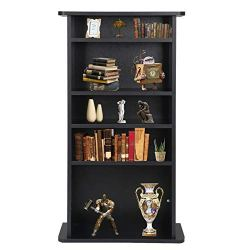 Nova Microdermabrasion Adjustable Media Storage Tower(DVD,CD,Games), 5-Tier Wooden Media Storage Organizer Cabinet, Bookshelf Display Bookcase for CDs, Books, Video Games, Arts