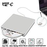 NOLYTH External DVD CD Drive USB C Superdrive External DVD/CD +/-RW Burner Writer Optical Drive Compatible with MacBook Pro Air/Laptop/Windows10(Silver)
