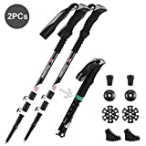 Andake Ultralight Trekking Pole, Aircraft-Grade 7075 Aluminum Anti-Shock Walking Sticks with All Terrain Accessories and Carry Bag, Collapsible for Hiking, Mountaineering, Camping (2P)