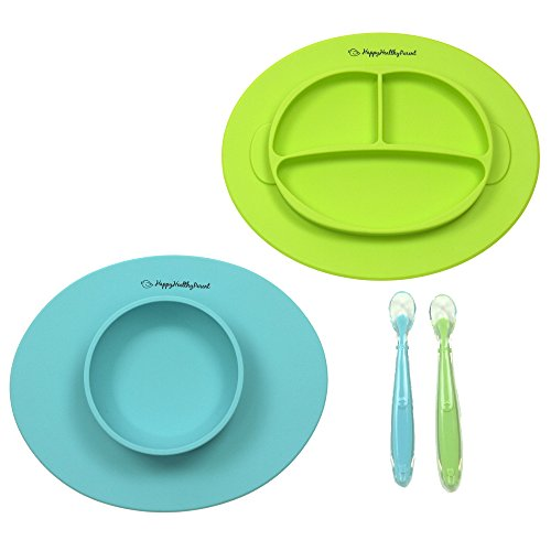 Silicone Bowl and Silicone Plate Easily Wipe Clean - Self Feeding Set Reduces Spills - Spend Less Time Cleaning After Meals with a Baby or Toddler - Set Includes 2 Colors (Turquoise/Lime Green)