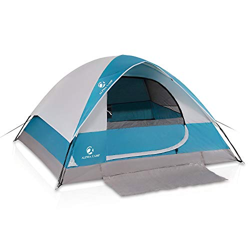 ALPHA CAMP 4 Person Dome Tent for Camping Easy Setup Tent with Foot Mat - 9' x 7' Blue
