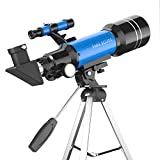Portable Kids Telescope 400x 70 mm with Tripod , Finder Scope and Moon Mirror , Travel Telescope for Kids & Beginners