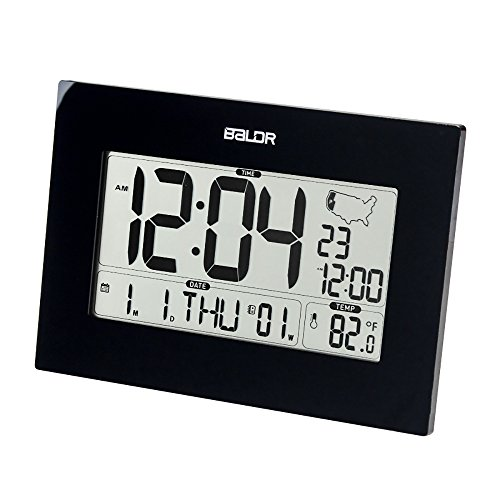 BALDR Digital Atomic Desk Wall Alarm Clock with Thermometer & Calendar, Battery Operated, Auto Self Setting, Large Display Indoor Temperature Gauge Month Date Weekday - Black