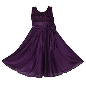 Princeandprincess Girl's Ethinic Dress Satin Lycra Frock