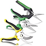 BoHoFarm Gardening Shears Garden Cutter Pruner Clippers Stainless Steel Bypass Pruning Kit Hydroponic Set of 3