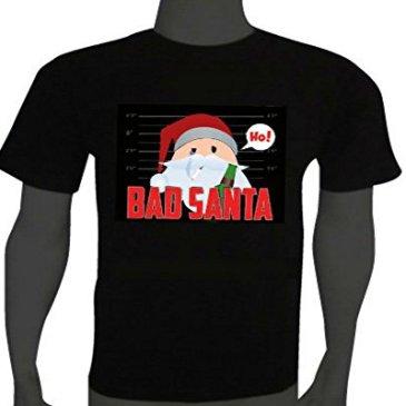 Stylish Sound Activated LED Christmas T-shirt BAD Santa Size