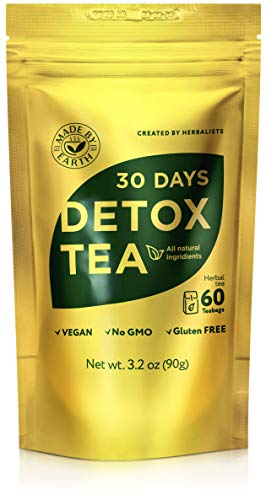 Made by Earth - 30 Day Detox Tea with Detox Guide: 100% Natural Herbal Teatox - Speeds Metabolism for Easy Weight Loss, Reduces Belly Fat, Laxative-Free, Gentle Cleanse - 60 bags