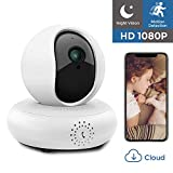 IP Camera 1080P HD WiFi Security Camera Wireless Home Surveillance Camera Indoor Pet Baby Camera with Night Vision/Two-Way Audio/PTZ, 2.4Ghz Dome Camera, Remote Monitor MicroSD Slot, iOS Cloud