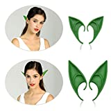 Phaxcoo 2 Pair Cosplay Fairy Pixie Elf Ears Anime Halloween Elven Ears Goblin Party Dress Up Costumes Accessories (Green Elf Ear)