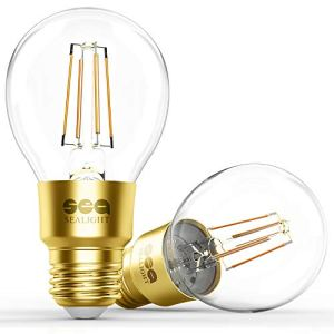 Smart Wi-Fi LED Bulb, SEALIGHT Smart Light Bulb Glass Vintage Edison Light, A19, Dimmable, Soft White 2700K, No Hub Required, Compatible with Alexa and Google Assistant, 2 Pack
