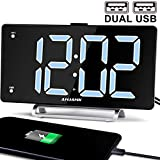 9' Digital Alarm Clock Large LED Display Dual Alarm with USB Charger Port for Bedrooms Bedside Desk Clocks Big Number Simple Seniors Clock