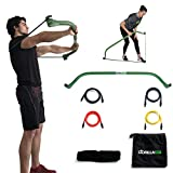 Gorilla Bow Portable Home Gym Resistance Band System | Weightlifting & HIIT Interval Training Kit | Full Body Workout Equipment (Green)