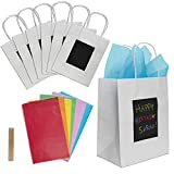 7 White Gift Bags with Scratch Paper Panel for Customisation, Tissue Paper Also Included! These Unique Bulk Bags with Handles are Great as Small Gift Bags, Party Favour Bags, and Kraft Paper Bags