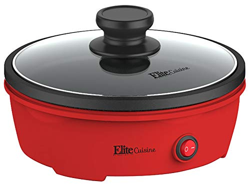Elite Cuisine EGL-6101 Electric Personal Nonstick Stir Fry Griddle Pan Skillet with Tempered Glass Lid, Rapid Heat Up, High Temperature, On/Off Switch, Indicator Light, 8.5 inch, 650 Watts, Red