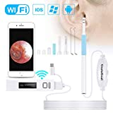 Ear Cleaning Endoscope,WiFi 3 in 1 Borescope Inspection Ear Wax Remover Tool 1.3Megapixels HD Waterproof Camera with 6 Adjustable LED,Compatible for IOS Iphone Ipad Mac OTG Android Micro USB PC(White)