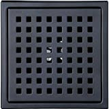6-inch Shower Drain, Square Floor Drain with Tile Insert Grate Removable, Multipurpose, Invisible Look or Flat Cover, SUS304 Stainless Steel, Black