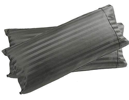 Body Pillowcase 21x60 Pillow Cover 100% Pure Egyptian Cotton Soft Heavy Quality 2-Pieces Pillowcase Genuine 500 Thread Count Zipper Body Pillow Cover Fits- 20 x 54 Pillow (Dark Grey Stripe)