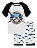 Family Feeling Little Boys Shark Pajamas Short Sets 100% Cotton Kid Summer Pjs 6