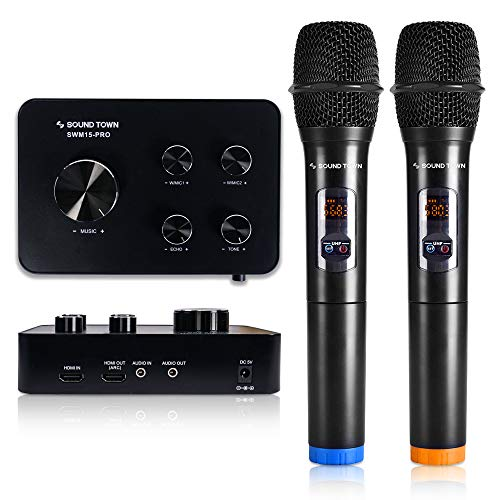 Sound Town 16 Channels Wireless Karaoke Microphone and Mixer System with Bluetooth, HDMI ARC, AUX, Supports Smart TV with HDMI Output (ARC), Media Box, PC, Home Theater (SWM15-PRO) - Upgrade Version