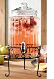 Home Essentials 1.5 Gal Clear Ribbed Beverage Dispenser with Metal Stand