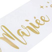 OLILLY-Echarpe-Future-Marie-pour-Enterrement-de-Vie-de-Jeune-Fille-EVJF-Cadeau-pour-la-Future-Marie-Blanche-et-Or