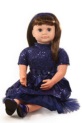 Ask Amy 22' Talking Interactive Singing Storytelling Smart Educational Doll Brunette Blue Sparkles Dress