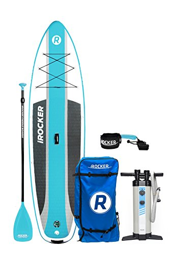 iROCKER Cruiser Inflatable Stand Up Paddle Board 10'6' Long 33' Wide 6' Thick SUP Package (Aqua 2018)